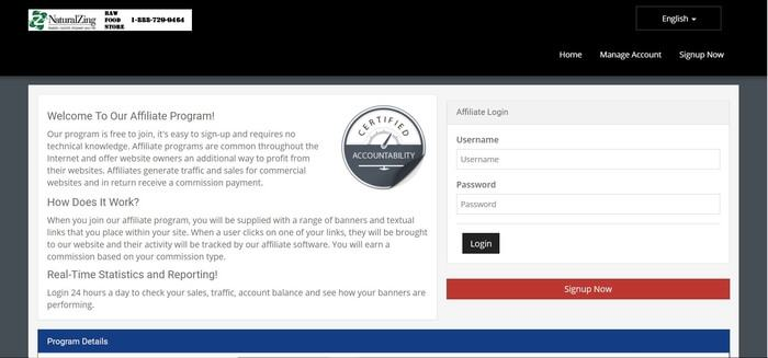 screenshot of the affiliate sign up page for Natural Zing