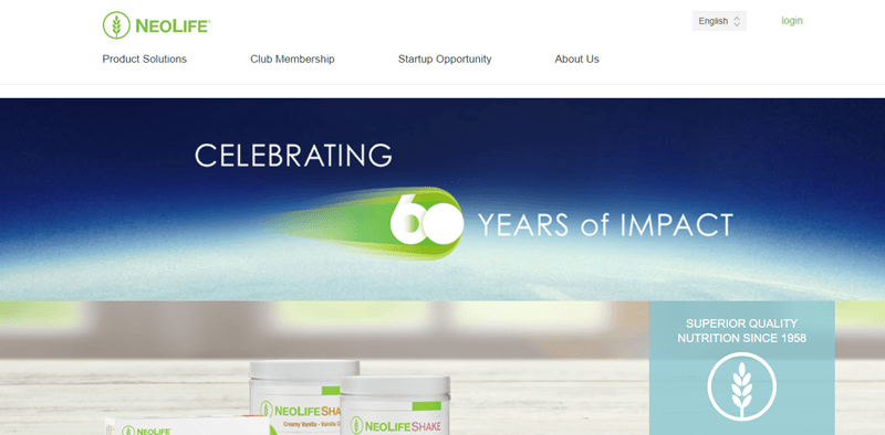 NeoLife website screenshot showing an image of the earth with the words 'Celebrating 60 years of Impact'.