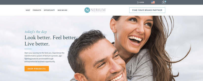 Nerium website screenshot showing a young couple outside and grinning.