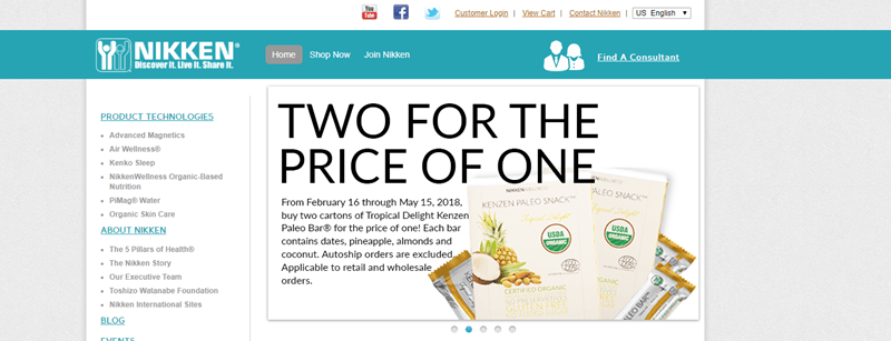 Nikken website screenshot showing an image of their paleo snacks, along with information about getting two for the price of one.