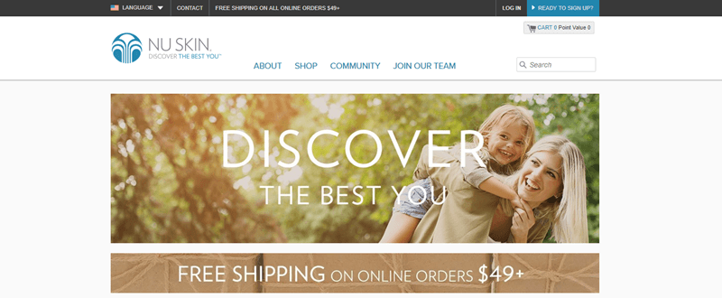 Nu Skin website screenshot showing a young mother and her son outside and grinning.