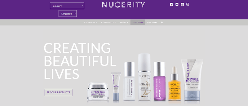 NuCerity website screenshot showing seven of their products against a gray background. There is white text that reads 'Creating Beautiful Lives'.