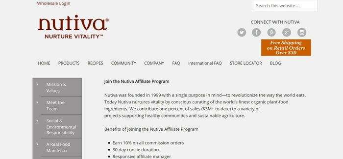 screenshot of the affiliate sign up page for Nutiva