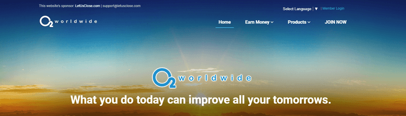 O2 Worldwide website screenshot showing an image of a sunrise or sunset.