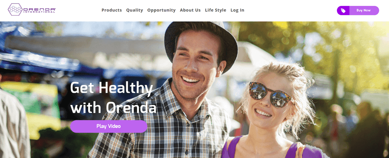 Orenda International website screenshot showing a young couple outside at a market.
