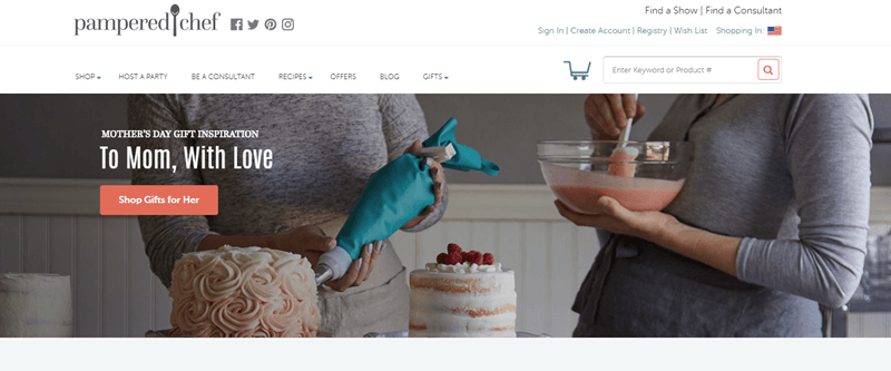 Pampered Chef website screenshot showing the torsos of two women who are working on creating cakes.
