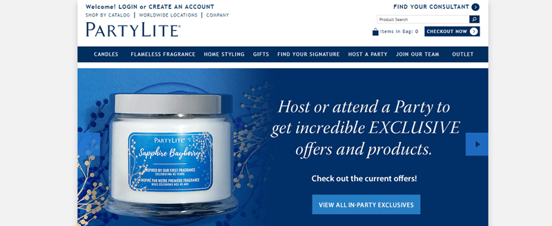 PartyLite website screenshot showing a Sapphire Bayberry candle and links to various exclusives.