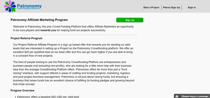 screenshot of the affiliate sign up page for Patronomy