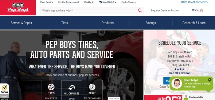 screenshot of the affiliate sign up page for Pep Boys