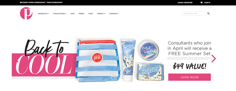 Perfectly Posh website screenshot showing a like of 'Back to Cool' products.