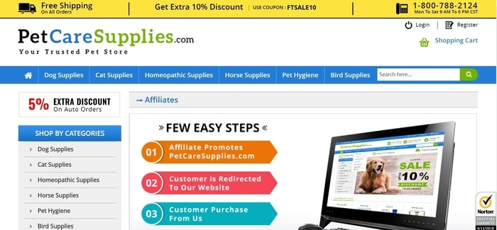 screenshot of the affiliate sign up page for Pet Care Supplies