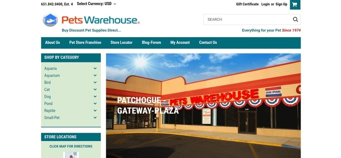 screenshot of the affiliate sign up page for Pets Warehouse
