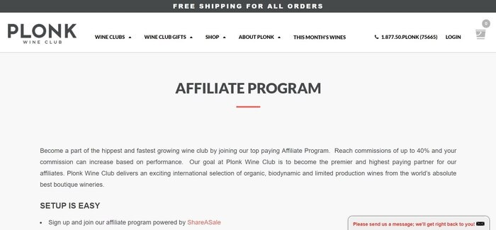 screenshot of the affiliate sign up page for Plonk Wine Club