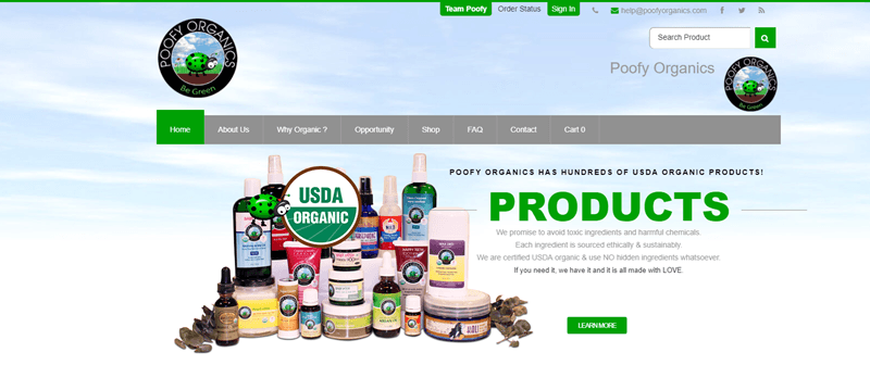 Poofy Organics website screenshot showing a large collection of products with the USDA organic logo overlaid.
