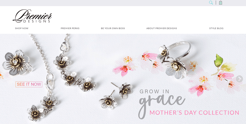 Premier Designs website screenshot showing a Mother's Day Collection that includes various pieces of jewelry in the shape of flowers.