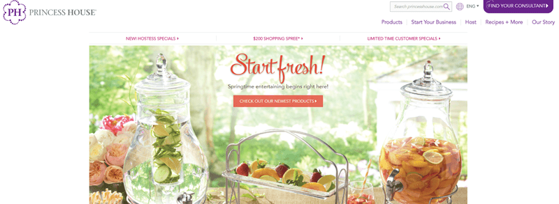 Princess House website screenshot showing two large jugs with infused water and a serving platter.