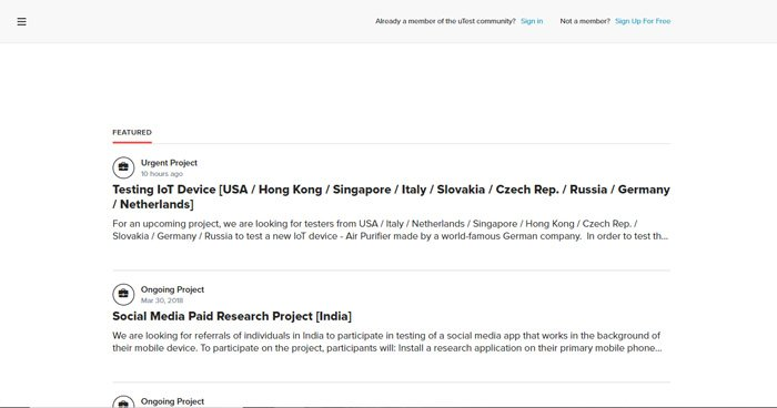 Projects On The UTest Landing Page