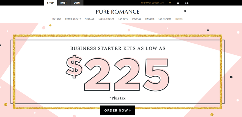 Pure Romance website screenshot showing an advertisement for business kits, which start at $225.