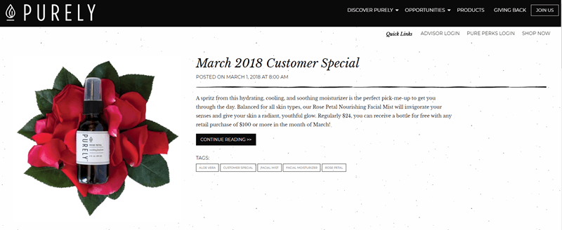 Purely website screenshot showing details about a March 2018 special, an image of a flower and a spray from the company.