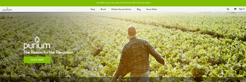 Purium website screenshot showing a man in a large green field.