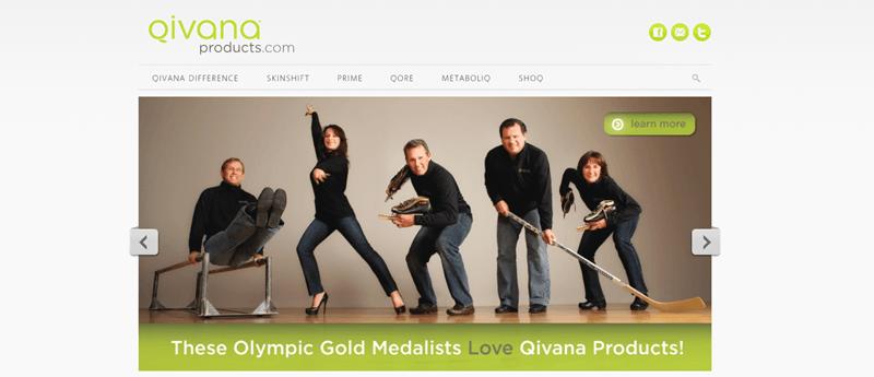 Qivana website screenshot showing five different athletes standing on a wooden floor.