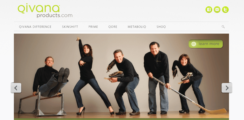 Qivana website screenshot showing five individuals all engaged in some type of athletic event.