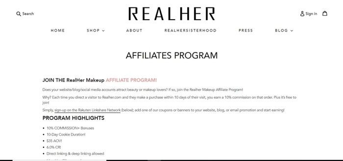 screenshot of the affiliate sign up page for Realher
