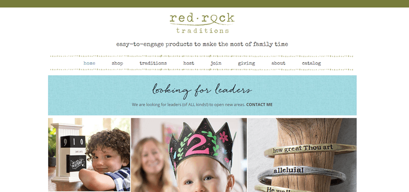 Red Rock Traditions website screenshot showing two images of young boys and an image that features a set of bracelets.
