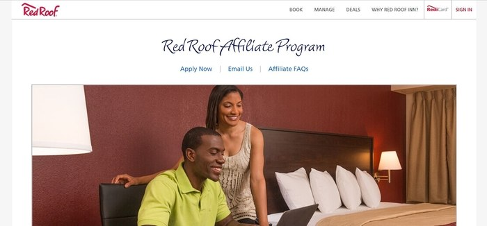 screenshot of the affiliate sign up page for Red Roof