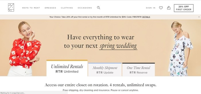 screenshot of the affiliate sign up page for Rent The Runway
