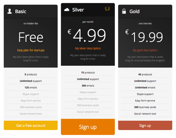 A sample of the plugin's pricing table designs. It compares three pricing plans, each with a title, icon, the details, and an action button at the bottom.