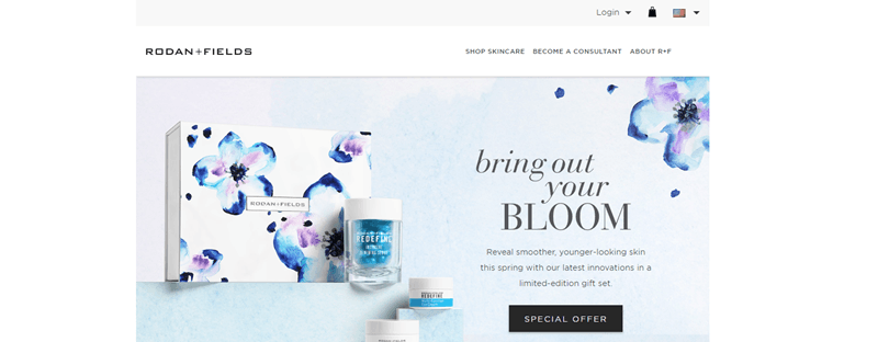 Rodan + Fields website screenshot showing a box from the company and several products.