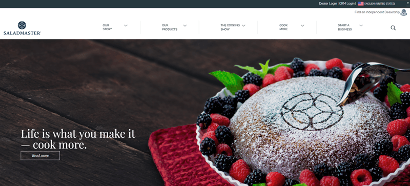 Saladmaster website screenshot showing a dessert that is surrounded by berries.