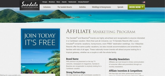 screenshot of the affiliate sign up page for Sandals & Beaches Resorts