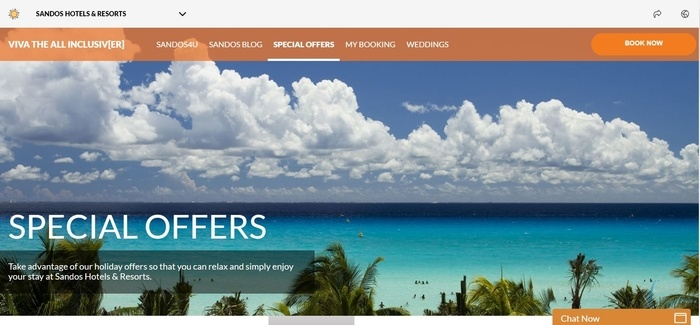 screenshot of the affiliate sign up page for Sandos Hotels and Resorts