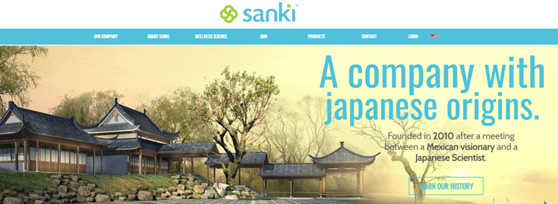 Sanki Global website screenshot showing a Japanese building and environment, along with details about Sanki's Japanese origins.