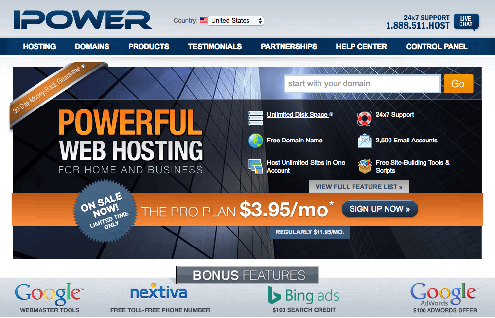 Ipowers homepage that doesn't look updated in decades.