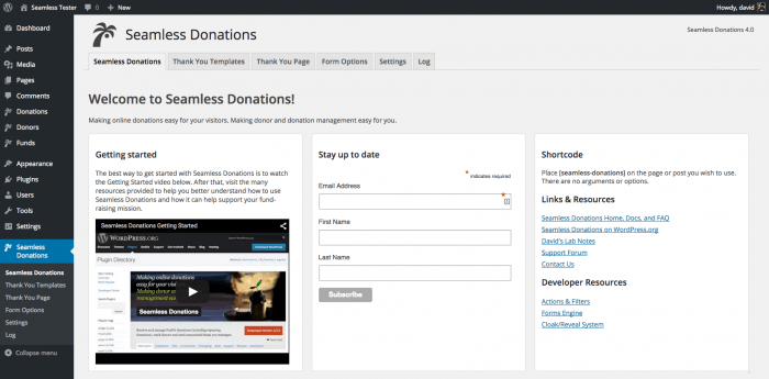 The Seamless Donations tab inside the WordPress dashboard. This is the admin welcome page, where they can view a tutorial on how to get started with the plugin and add their information. On the right are the plugin's shortcodes, as well a number of links and resources for learning and others for developers.