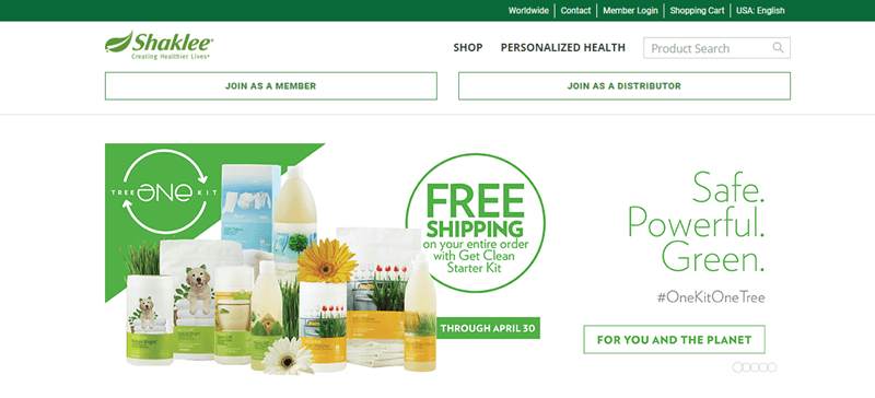 Shaklee website screenshot showing a white background with a collection of various products from the company.