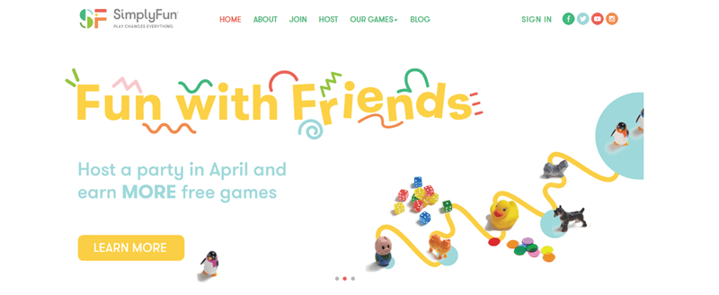 SimplyFun website screenshot showing the phrase 'Fun with friends' and various small images of toys.