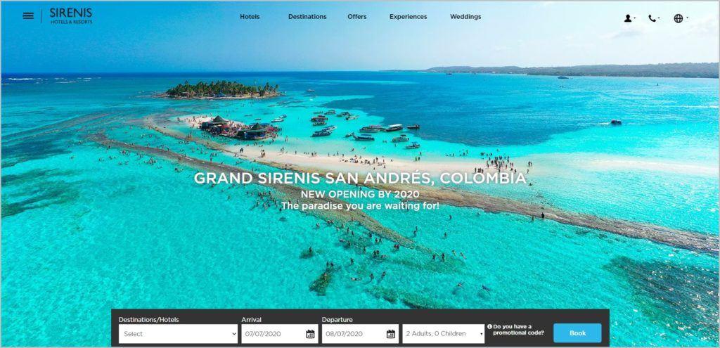 screenshot of Sirenis Hotels & Resorts web page