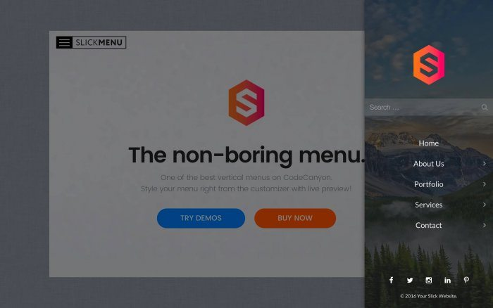 A sample menu with an image in its background and social sharing buttons below the main menu items.
