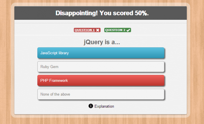 The result of an MCQ quiz showing the percentage score at the top, and then a row that shows the questions, each marked as correct or false based on the user's answers.