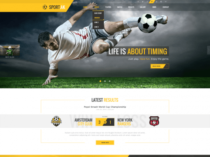 "The SportAK homepage showing a full-screen background image with the slogan ""Life is About Timing"" written across it. At the top is a navigation menu."