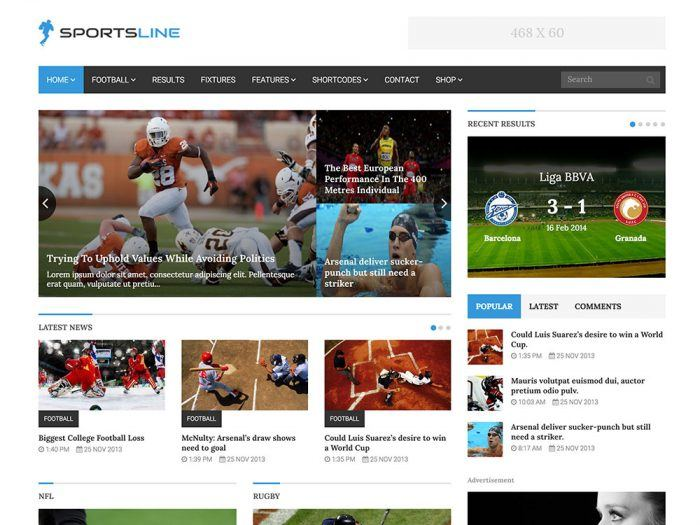 The Sportsline homepage showing a menu at the top, and then various news items. Each item appears in a widget with a background image, headline, and excerpt. There is a separate section for the latest news and another for each sport. On the right is a widget with three tabs: popular, latest, and comments.