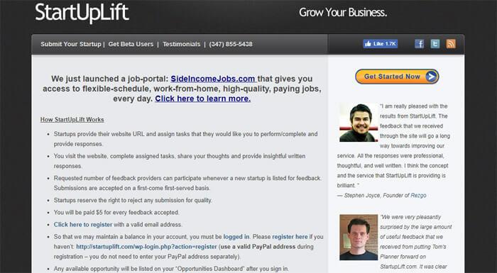 Start Up Lift Feedback Information