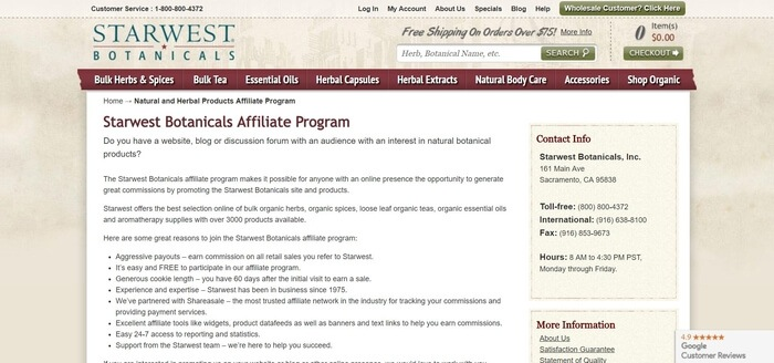 screenshot of the affiliate sign up page for Starwest Botanicals