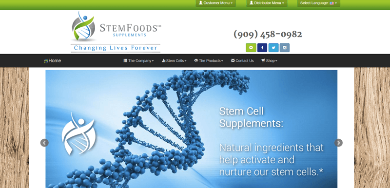 StemFoods website screenshot showing a macro DNA molecule along with details about the supplements.