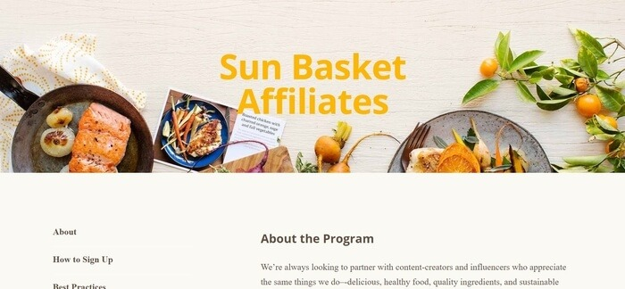 screenshot of the affiliate sign up page for Sun Basket