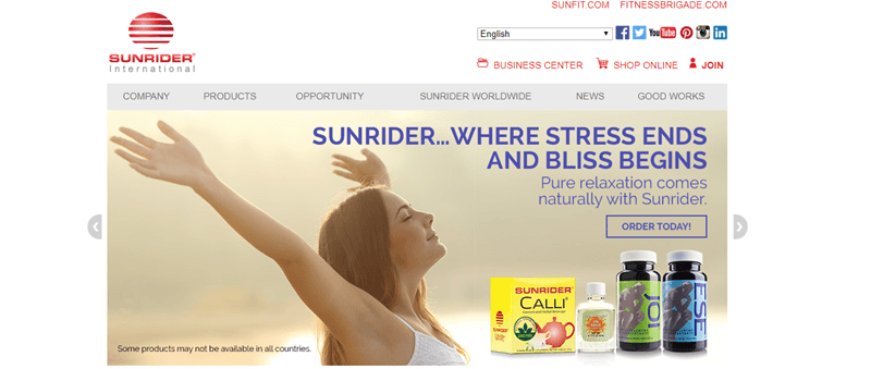 Sunrider website screenshot showing a young woman in the sun with four products from the company.